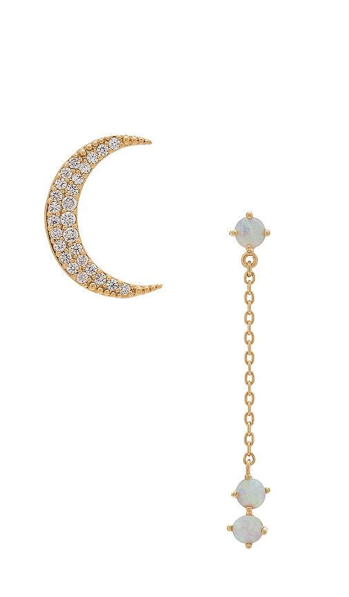 Crescent Gold & Opal Drop Earring