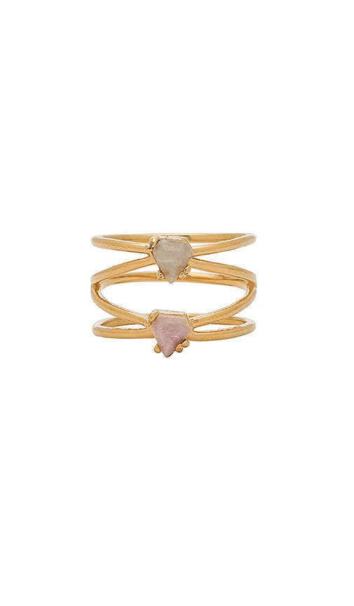 Wanderlust + Co Talia Ring in Metallic Gold