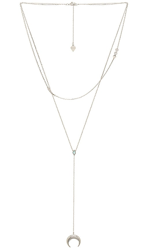 Wanderlust + Co Crescent Diamante Necklace in Metallic Silver