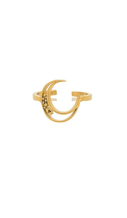 Wanderlust + Co Elea Crescent Ring in Metallic Gold