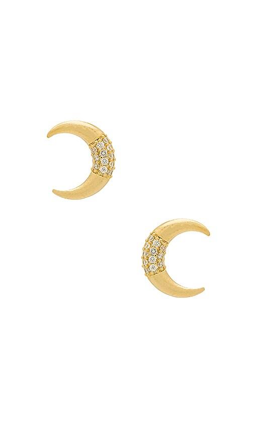 Wanderlust + Co Luna Pave Earrings in Metallic Gold