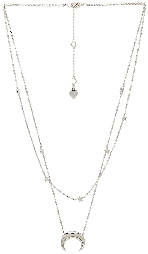 Wanderlust + Co Crescent & Constellation Layered Necklace in Silver
