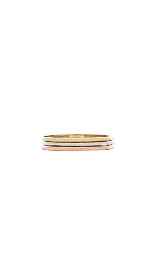 Wanderlust + Co Triple Ring Set in Mixed Metal