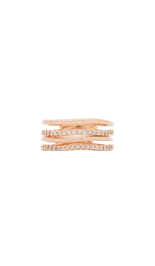 Crystal and Bar Stack Ring Set