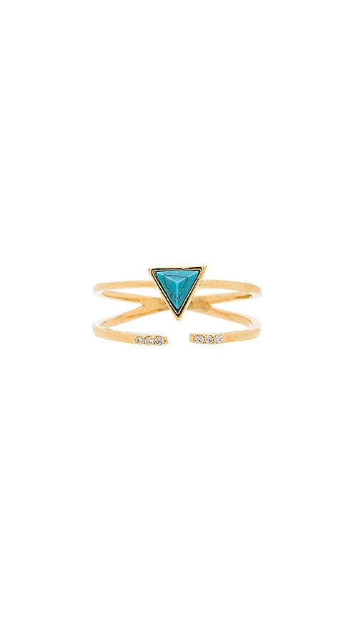 Wanderlust + Co Dusk To Dawn Turquoise Wrap Ring in Metallic Gold