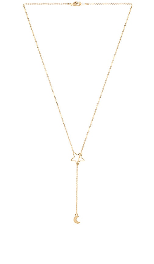 Wanderlust + Co Crescent & Star Necklace in Gold