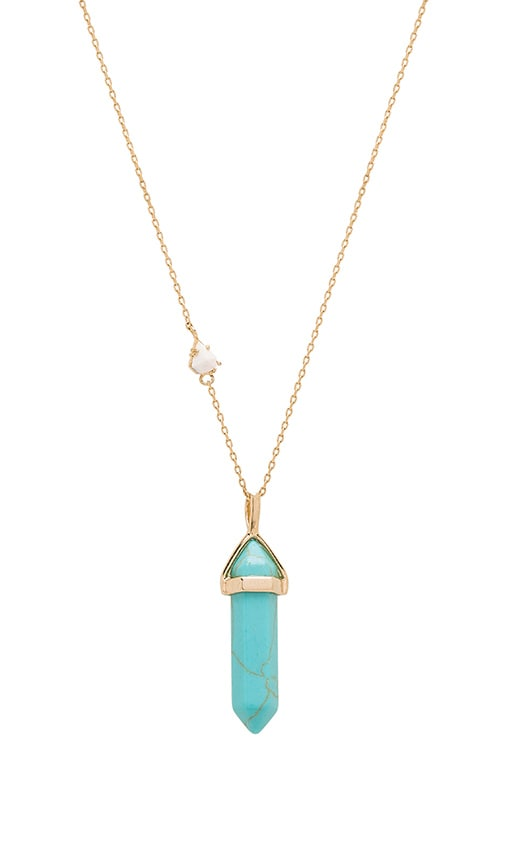 Wanderlust + Co Celeste Gem Necklace in Metallic Gold