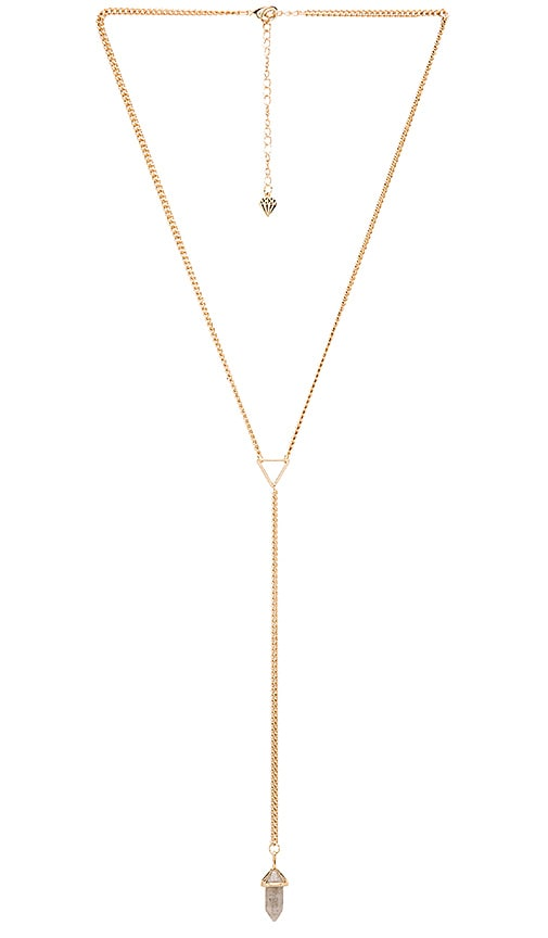 Wanderlust + Co Celeste Tri Lariat Necklace in Gold & Slate