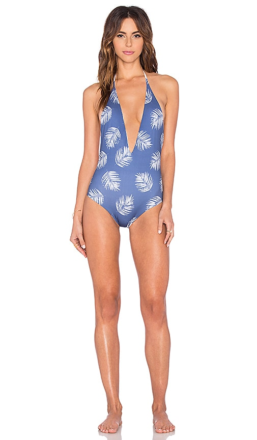 WATER GLAMOUR Skylar Swimsuit in Blue Palm Frawn & White