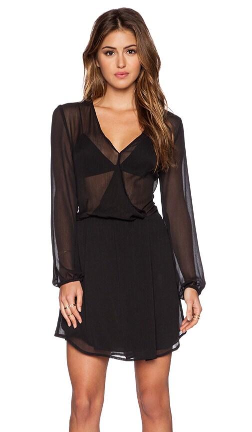 WAYF Wrap Front Dress in Black