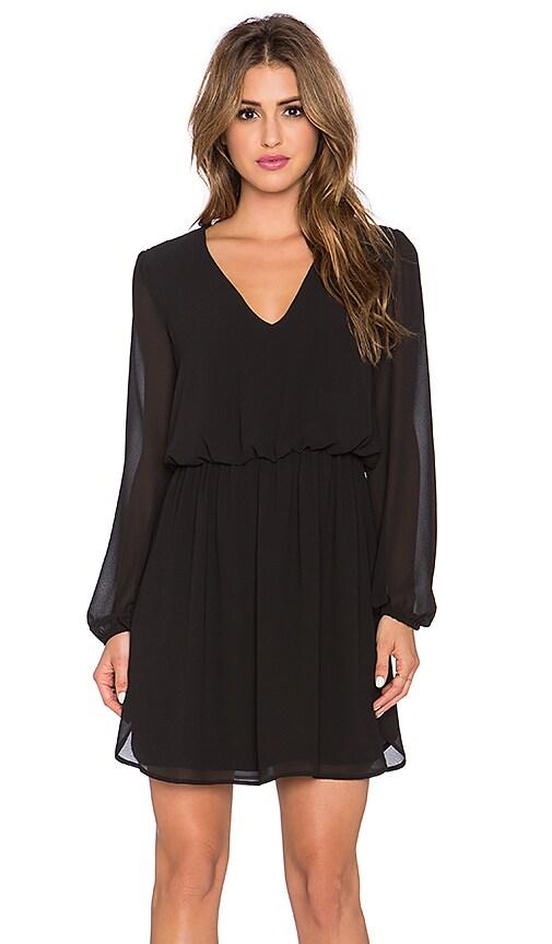 WAYF V Neck Dress in Black