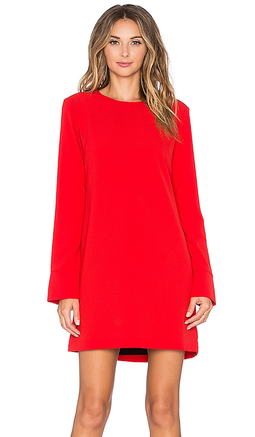 WAYF Cutout Back Long Sleeve Dress in Red