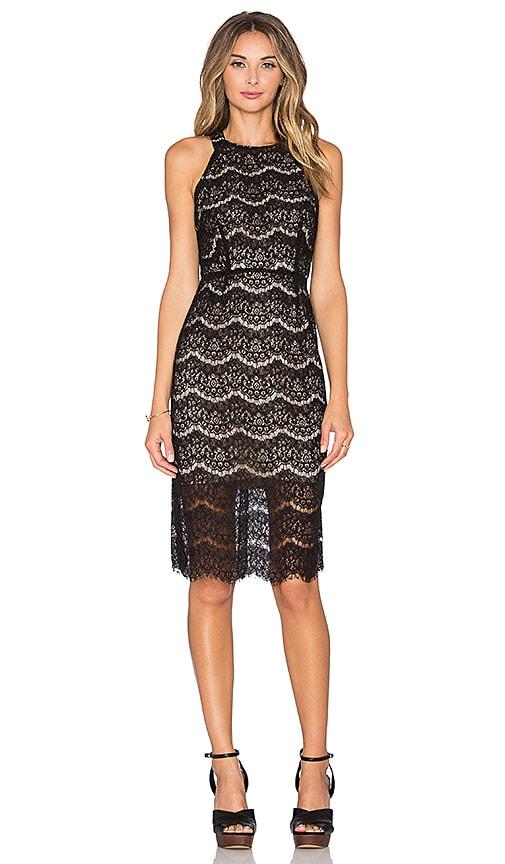 WAYF Cross Back Lace Midi Dress in Black & Nude