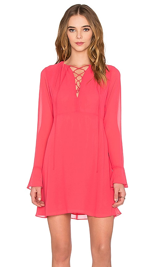 WAYF Lace Up Dress in Coral