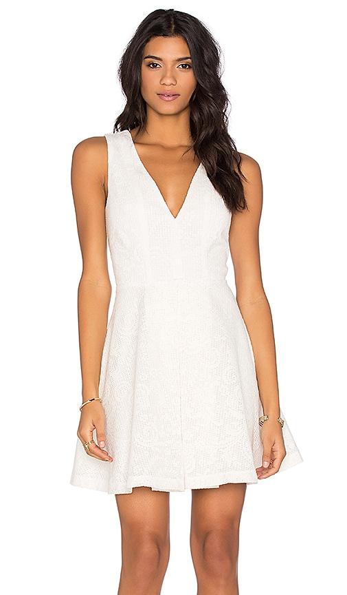 WAYF V Neck Dress in White