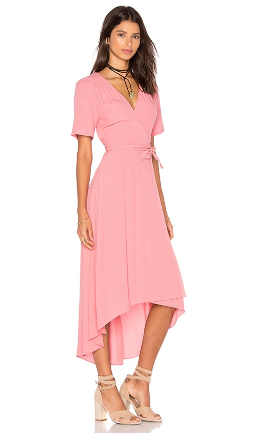WAYF Wrap Dress in Coral