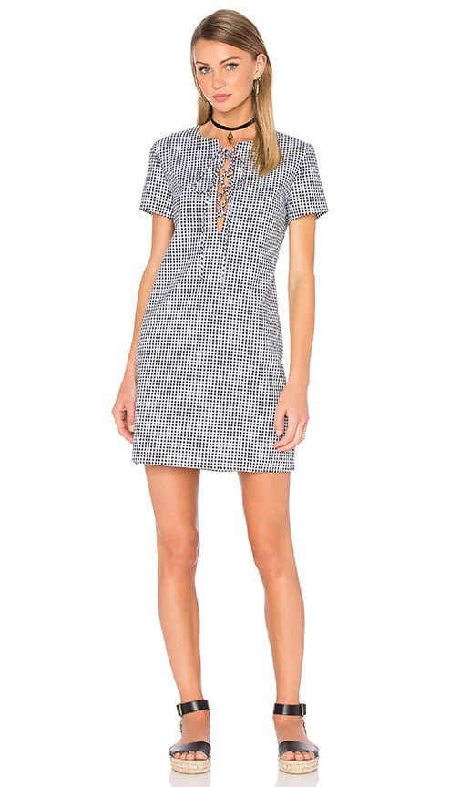 WAYF Lace Up Shift Dress in Black & White Gingham