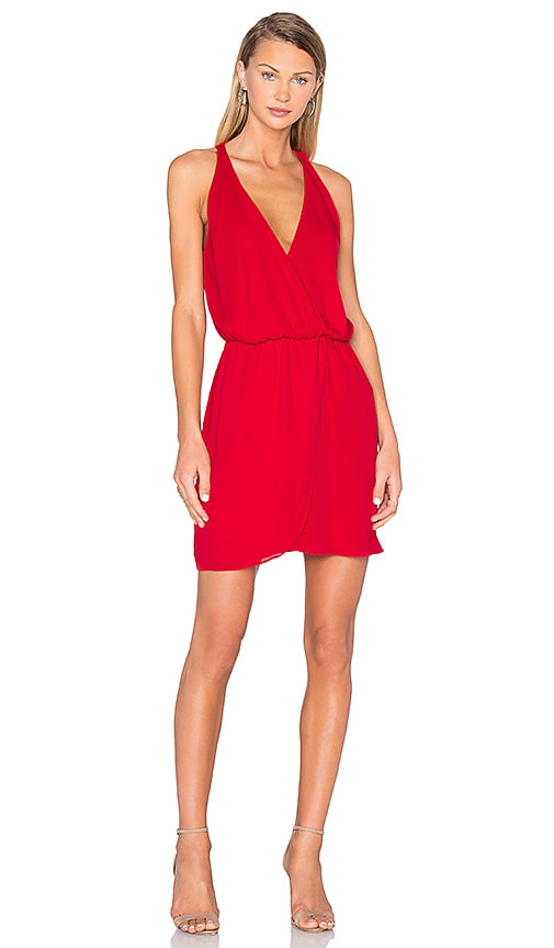 WAYF Wrap Front Dress in Red