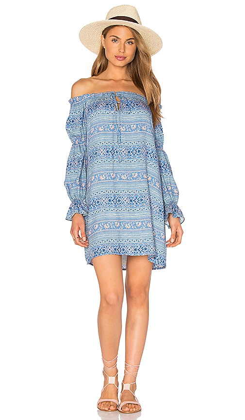 WAYF Perched Bird Off The Shoulder Dress in Blue