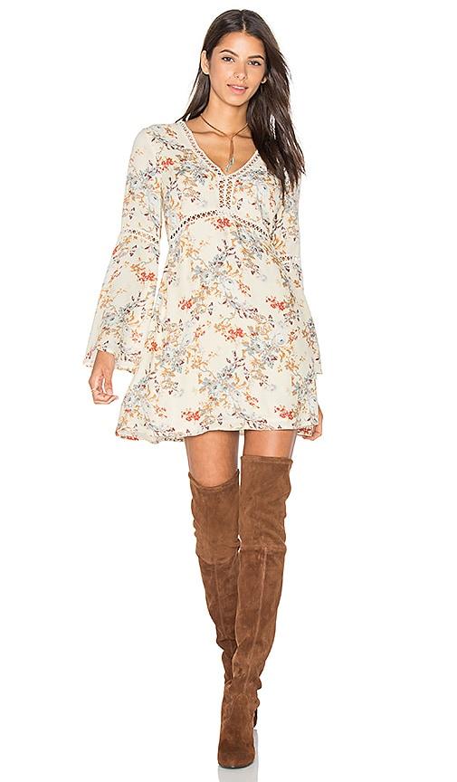 WAYF Pembrook Swing Dress in Beige Floral