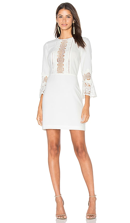 WAYF Somerset Lace Trim Dress in White