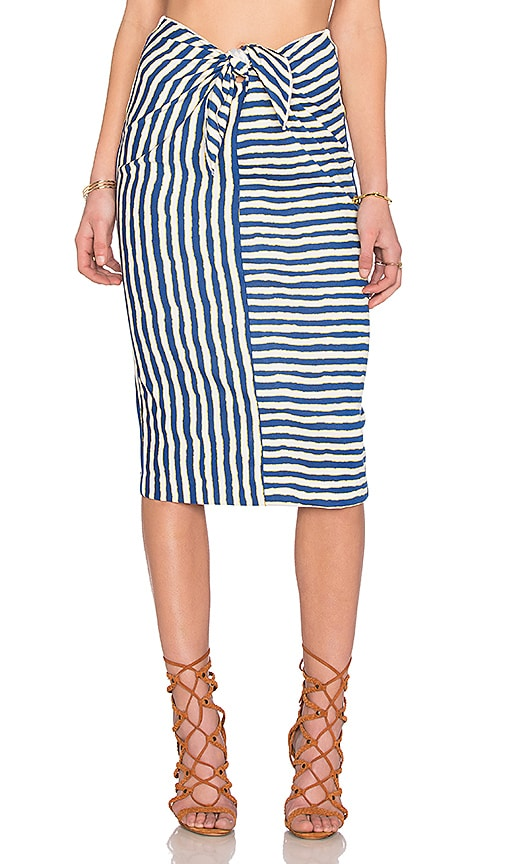 WAYF Tie Front Pencil Skirt in Navy
