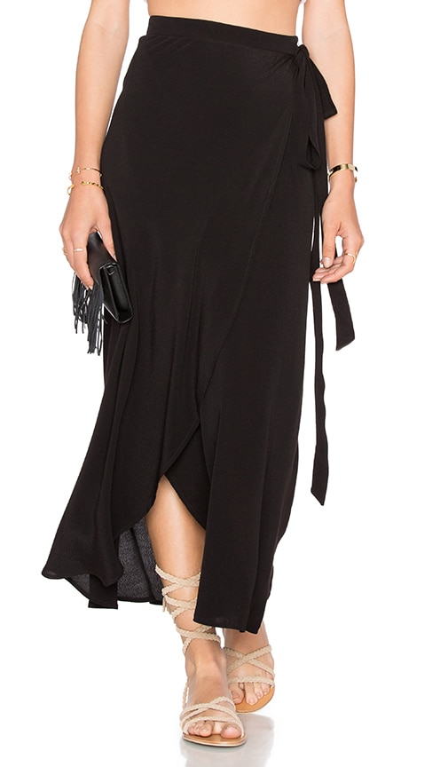 b89e8422e7 WAYF Wrap Midi Skirt in Black | REVOLVE