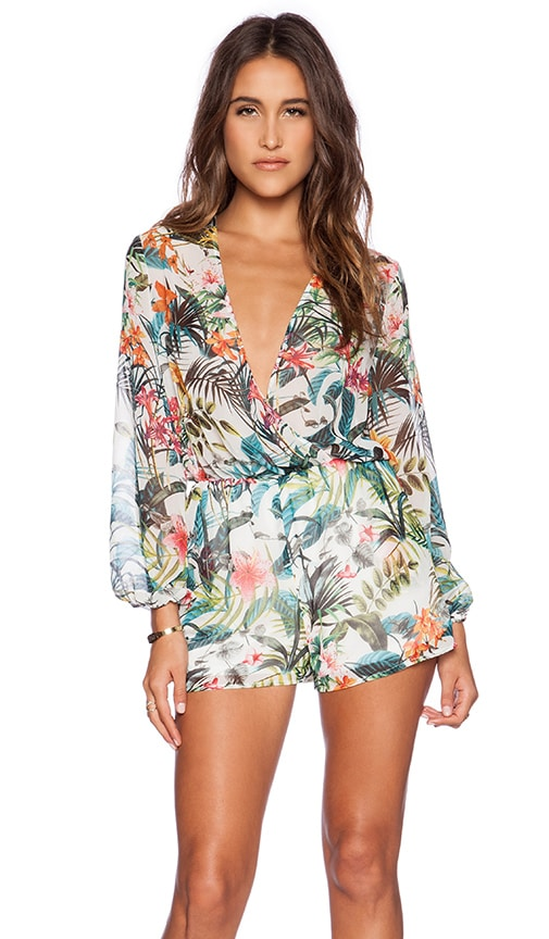 414a80096e21 WAYF Wrap Front Romper in Tropical Print