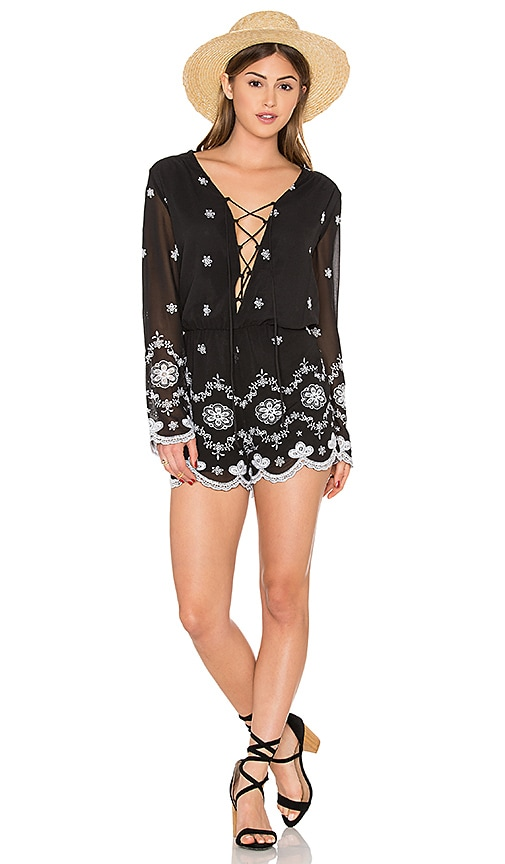 WAYF Embroidered Romper in Black & White