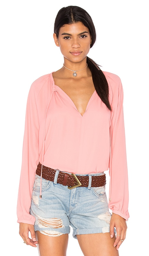 WAYF Peasant Blouse in Pink