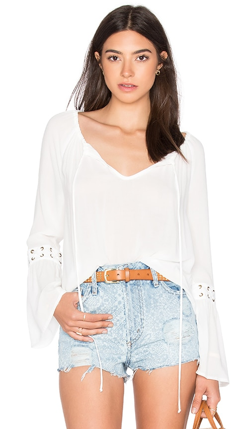 WAYF Eyelet Blouse in White