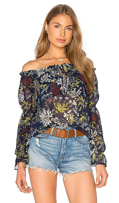 WAYF Perched Bird Off The Shoulder Top in Navy