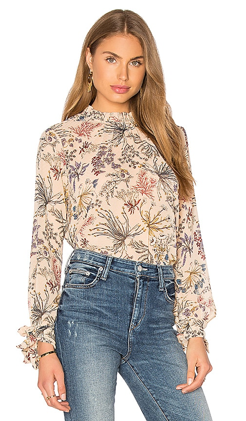 WAYF Porcelain Doll Blouse in Beige Floral
