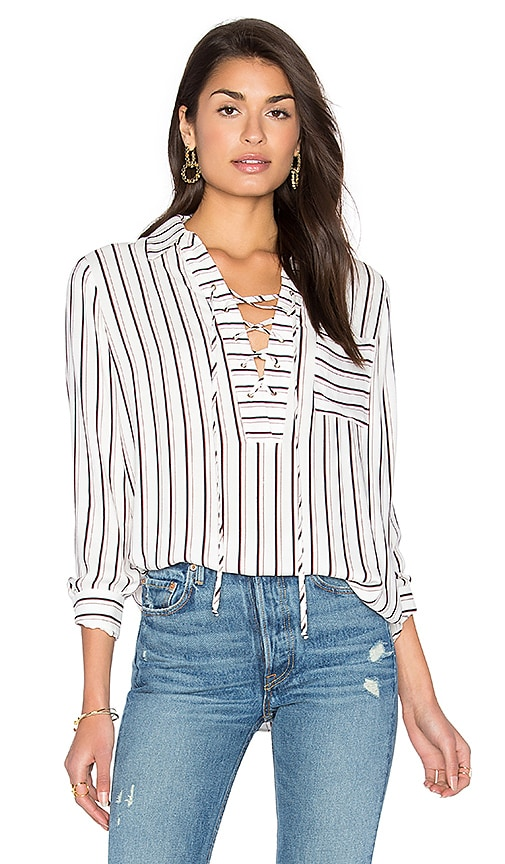 WAYF Dean Lace Up Blouse in White