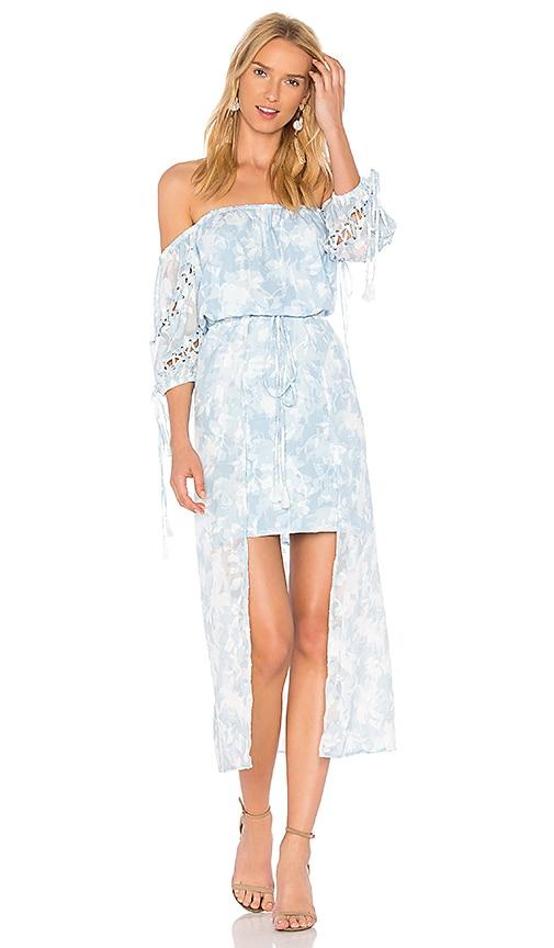We Are Kindred Morning Frost Off Shoulder Dress in Blue
