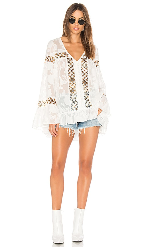 We Are Kindred Stephanie Oversized Blouse in White