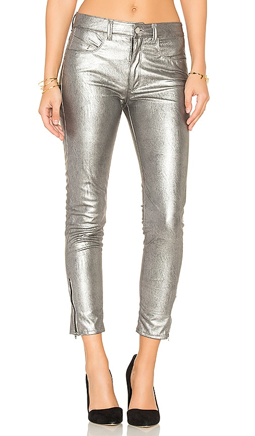Weslin + Grant High Rise Skinny in Metallic Silver