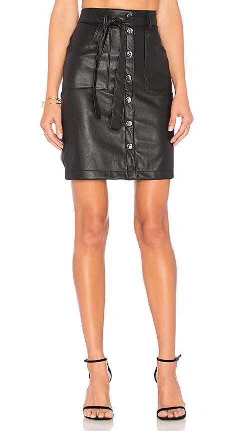 Weslin + Grant Strutter Vegan Leather Skirt in Black