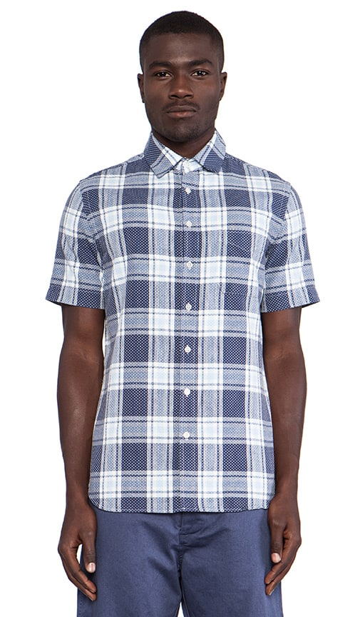 Short Sleeve Sashiko Plaid Shirt
