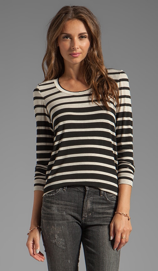 Engineered Stripe Rosewood Long Sleeve