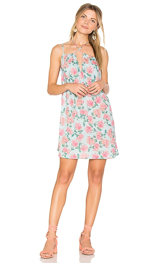 Wildfox Couture Dusty Rose Print Lily Slip Dress in Blue
