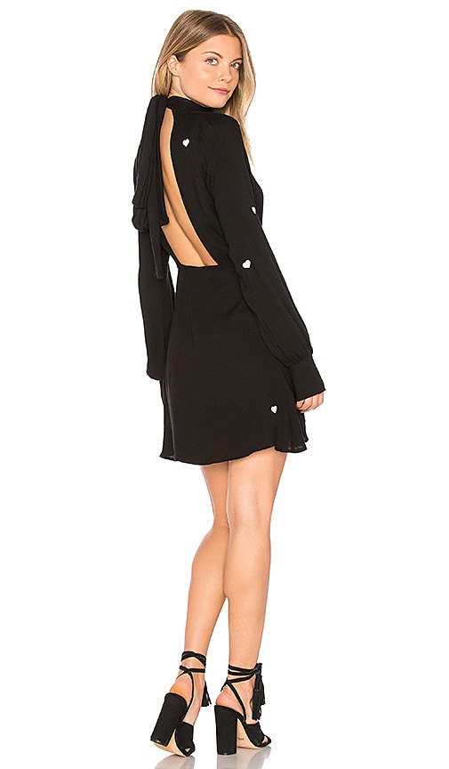 Wildfox Couture Scattered Heart Embroidery Turtleneck Dress in Black