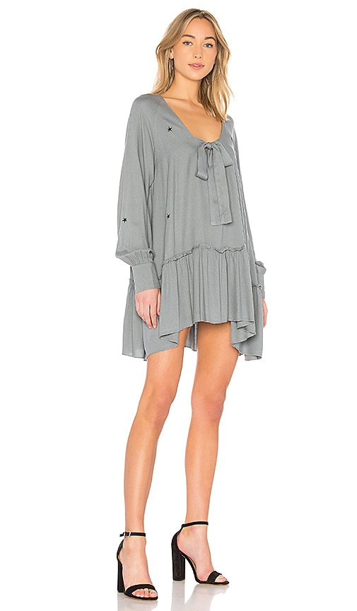 Wildfox Couture Scattered Star Embroidery Mini Dress in Slate