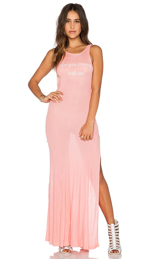 Wildfox Couture Come With Me Madlvies Maxi Dress in Peach Rose