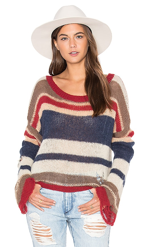 Wildfox Couture Stripes Sweater in Beige