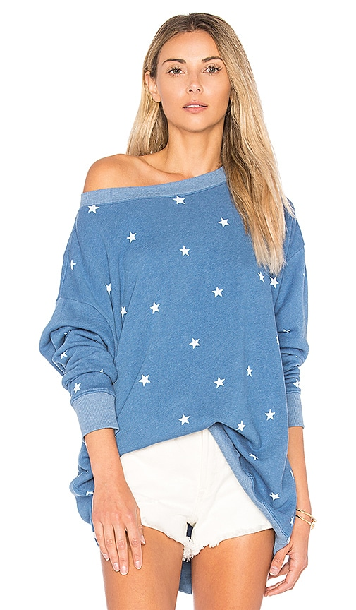 Wildfox Couture Football Star Sweater in Blue