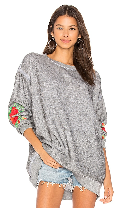 Wildfox Couture Roses Embroidered Roadtrip Sweater in Gray