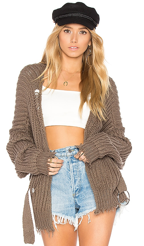 Wildfox Couture Solid Cardigan in Olive