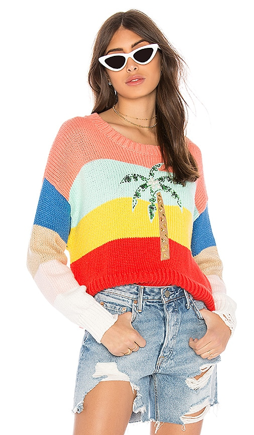 Wildfox Couture Cayman Palm Iris Sweater in Red