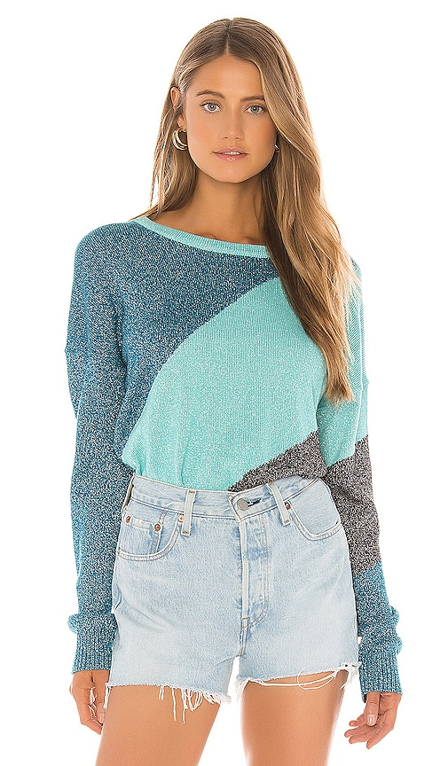 Wildfox Couture Tidal Wave Sydney Sweater in Tide & Orion